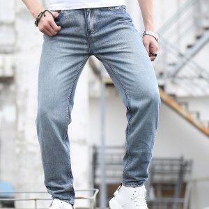Мужской Джинсы с прямыми штанинами карманами сзади SHEIN. Цвет: легко-синий