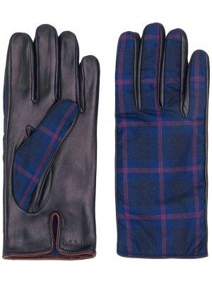 Клетчатые перчатки Paul Smith. Цвет: синий
