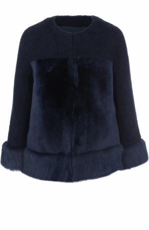 Укороченная шуба с круглым вырезом из овчины Loro Piana. Цвет: синий