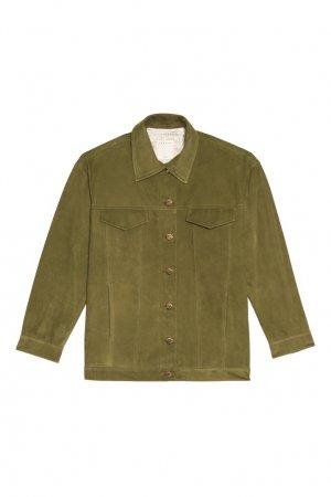 Кожаная куртка зеленого цвета Sandro. Цвет: зеленый