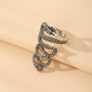 Мужское кольцо в форме змеи SHEIN. Цвет: серебряные