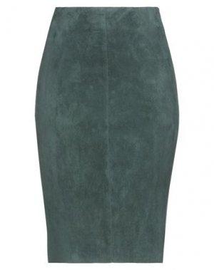 Юбка до колена JITROIS. Цвет: темно-зеленый