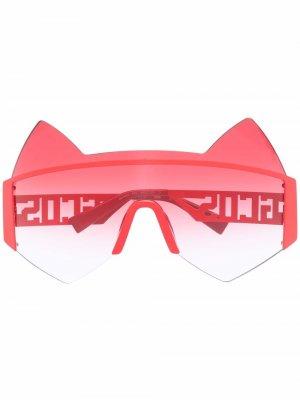 Солнцезащитные очки в оправе кошачий глаз Gcds. Цвет: красный