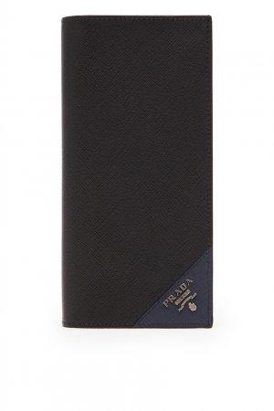 Удлиненный складной кошелек Prada. Цвет: черный