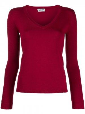 Приталенный пуловер с V-образным вырезом LIU JO. Цвет: красный