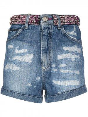 Джинсовые шорты со стразами Philipp Plein. Цвет: синий