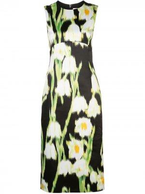 Платье миди с цветочным принтом Carolina Herrera. Цвет: черный