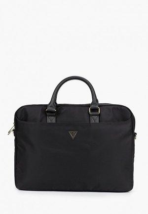Сумка Guess для ноутбука 15 Nylon computer bag with Triangle metal logo Black. Цвет: черный