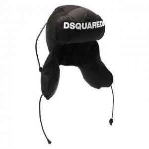Пуховая шапка-ушанка Dsquared2. Цвет: чёрный