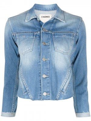 LAgence джинсовая куртка Janelle с необработанным краем L'Agence. Цвет: синий