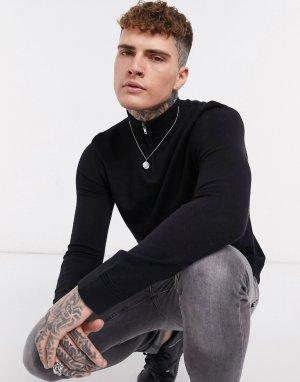 Черный свитер с короткой молнией Topman
