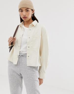 Короткая джинсовая куртка-рубашка -Кремовый Weekday