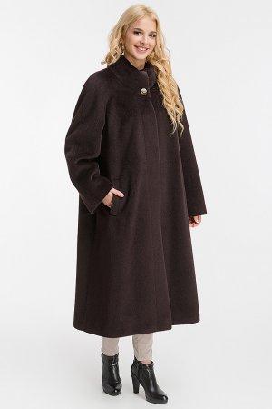 Длинное демисезонное пальто из альпака на большой размер Leoni Bourget. Цвет: шоколад