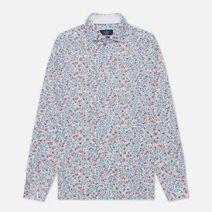 Мужская рубашка Floral Outline Print Hackett. Цвет: белый