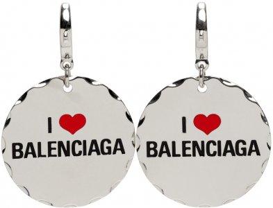 Silver Love Token Earrings Balenciaga. Цвет: 0668 silver
