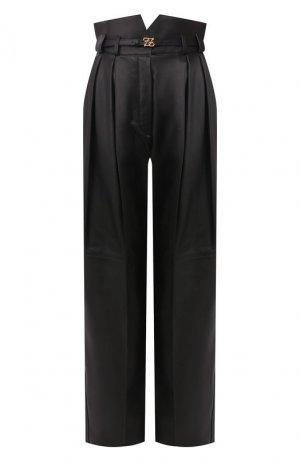 Кожаные брюки Fendi. Цвет: черный