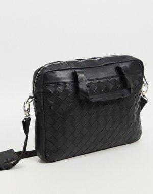 Черный кожаный портфель с плетеным узором -Черный цвет ASOS DESIGN
