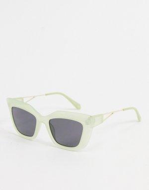 Светло-зеленые квадратные солнцезащитные очки -Зеленый цвет Jeepers Peepers