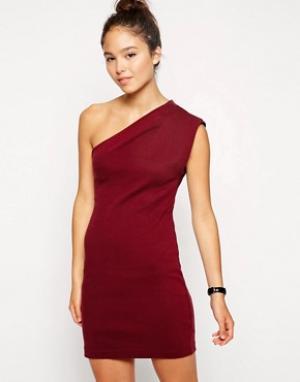 Асимметричное платье Interlock American Apparel. Цвет: красный
