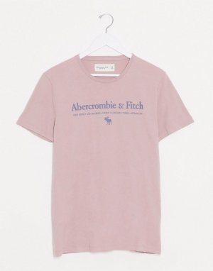Розовая футболка с логотипом на груди -Серый Abercrombie & Fitch