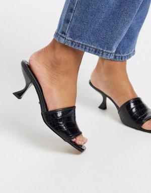 Черные мюли на каблуке -Черный Topshop
