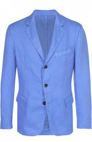 Льняной приталенный пиджак 120% Lino. Цвет: синий