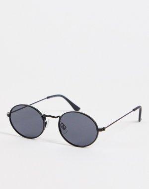 Тонкие овальные солнцезащитные очки черного цвета -Черный цвет New Look