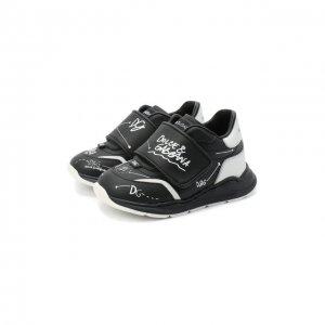 Кожаные кроссовки Dolce & Gabbana. Цвет: чёрный