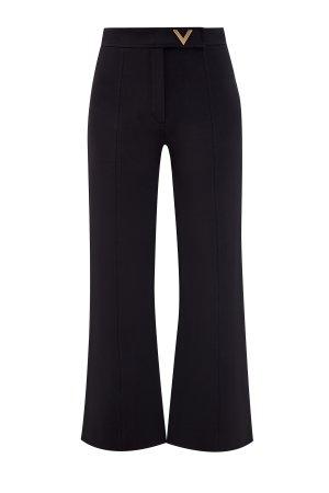 Брюки расклешенного кроя из ткани Crepe Couture VALENTINO. Цвет: черный