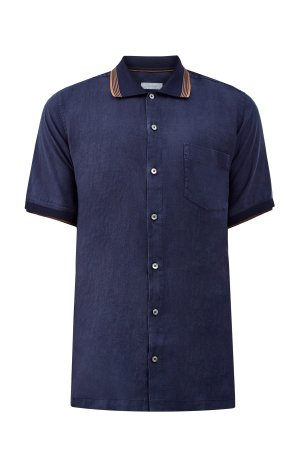 Рубашка с короткими рукавами изо льна CORTIGIANI. Цвет: синий