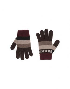 Перчатки FENDI. Цвет: темно-коричневый