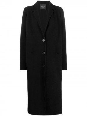 Длинное однобортное пальто Roberto Collina. Цвет: черный