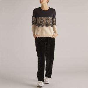 Пуловер с круглым вырезом и кружевом RENE DERHY. Цвет: черный/розовая пудра