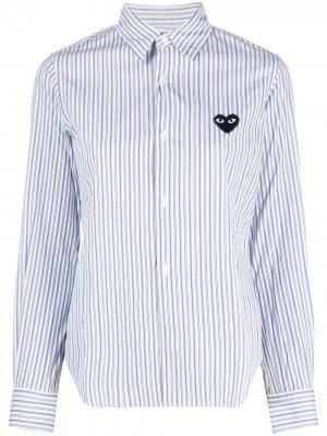 Heart-patch striped shirt Comme Des Garçons Play. Цвет: синий