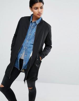 Удлиненная куртка‑пилот на подкладке борг Only. Цвет: черный