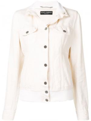 Джинсовая куртка 1990-х годов с воротником в рубчик Dolce & Gabbana Pre-Owned. Цвет: нейтральные цвета