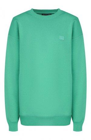Хлопковый пуловер Acne Studios. Цвет: зеленый