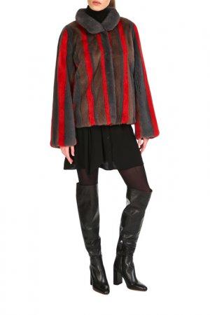 Short fur coat Manakas Frankfurt. Цвет: brown, red