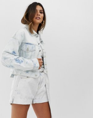 Комбинируемая укороченная джинсовая oversize-куртка с эффектом кислотной стирки -Синий Skylar Rose