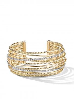 Золотой браслет-кафф Crossover с бриллиантами David Yurman. Цвет: золотистый