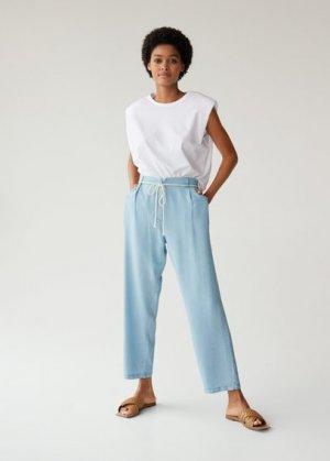 Прямые брюки со шнурком - Bowie Mango. Цвет: светло-синий