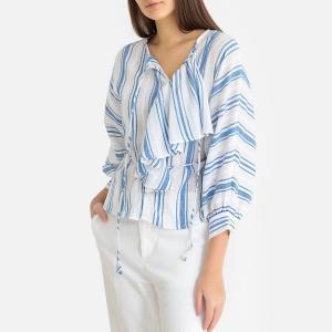 Блузка в полоску с круглым вырезом разрезом спереди SERIFOS ANTIK BATIK. Цвет: синий