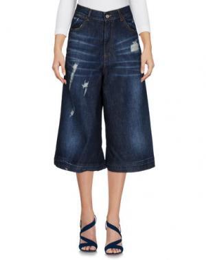 Джинсовые брюки-капри LE STREGHE. Цвет: синий