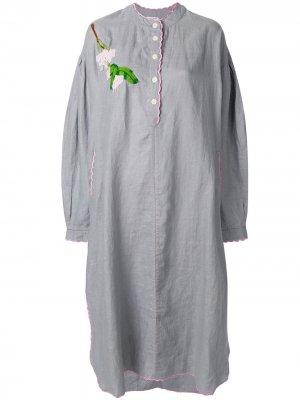 Платье-туника с вышивкой Natasha Zinko. Цвет: серый