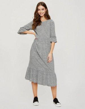 Серое меланжевое платье миди с присборенной юбкой -Серый Miss Selfridge