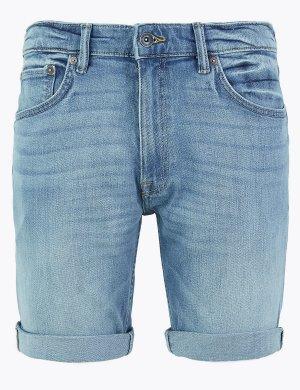 Джинсовые шорты слим M&S Collection. Цвет: светлый синий