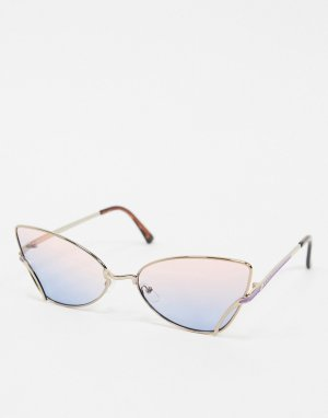 Солнцезащитные очки «кошачий глаз» в золотисто-розовой оправе -Розовый AJ Morgan