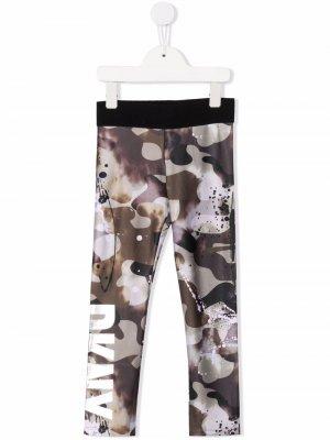 Camouflage-print fleece leggings Dkny Kids. Цвет: зеленый