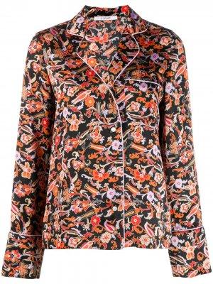 Пижамная рубашка с принтом пейсли и длинными рукавами Derek Lam 10 Crosby. Цвет: черный