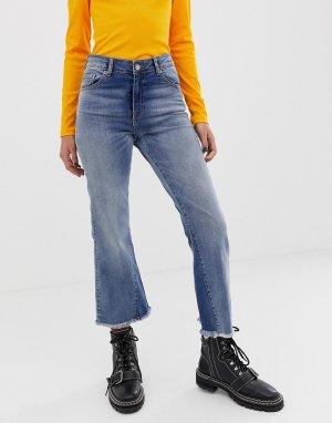 Облегающие укороченные расклешенные джинсы -Синий Dr Denim